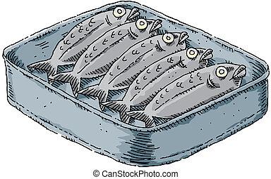 A tin of cartoon sardines.