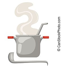 Cartoon saucepan on a white background. Kitchen utensils. soup