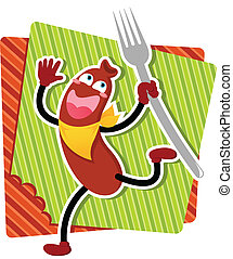 cartoon sausage - happy cartoon sausage running with a fork