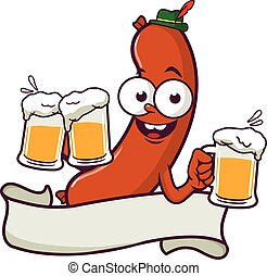 Cartoon Sausage serving beer and blank banner. Vector illustration