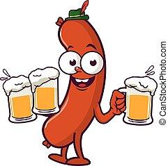 Cartoon Sausage serving beer. Vector illustration