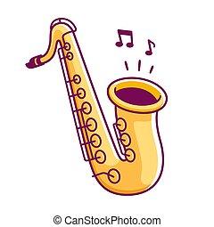 Cartoon saxophone drawing