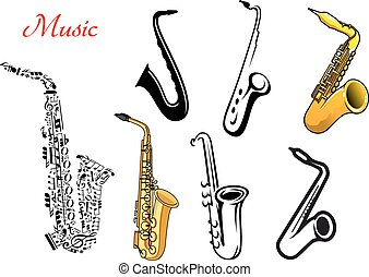 Cartoon saxophone music instruments