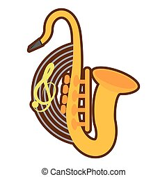 cartoon saxophone musical instrument wind