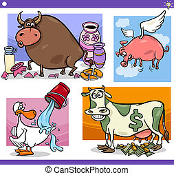 Illustration Set of Humorous Cartoon Sayings or Proverbs Concepts and Metaphors with Funny Animal Characters