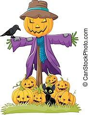 Cartoon scarecrow character - Vector illustration of Cartoon...