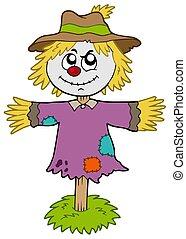Cartoon scarecrow on white background - isolated...