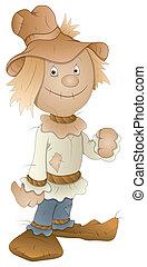 Cartoon Scarecrow Vector Art