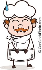 Cartoon Scared Chef Face with Cold Sweat Vector