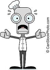 Cartoon Scared Chef Robot