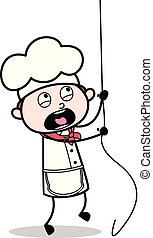 Cartoon Scared Chef Trying to Climb Rope Vector Illustration