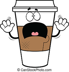 Cartoon Scared Coffee Cup - Cartoon illustration of a coffee...