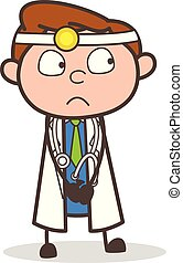 Cartoon Scared Dentist Expresion Vector Illustration