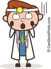 Cartoon Scared Doctor Thanking God Vector Concept