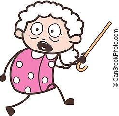 Cartoon Scared Grandma Running Vector Illustration