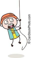 Cartoon Scared Grandpa Trying to Climb Rope Vector Illustration