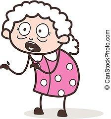 Cartoon Scared Granny Vector Illustration
