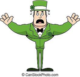Cartoon Scared Irish Man