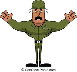 Cartoon Scared Soldier