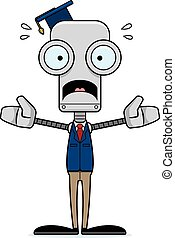 Cartoon Scared Teacher Robot