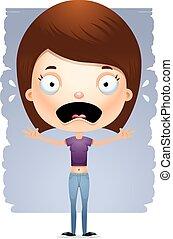 Cartoon Scared Teen Girl