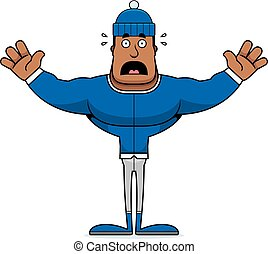 Cartoon Scared Winter Man