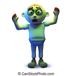 Rendered image of a cartoon scarey undead zombie in 3d waving his arms in the air