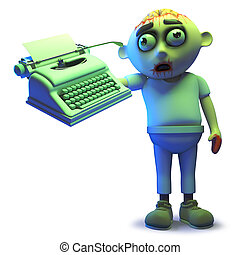 Rendered image of a cartoon scarey undead zombie monster holding a typewriter, 3d illustration