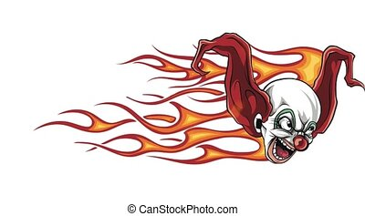 Cartoon Scary Clown with flames - Cartoon Scary Clown with ...