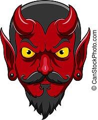 Cartoon scary devil head mascot