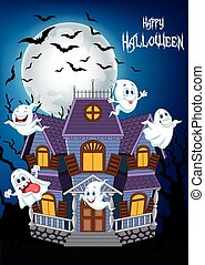 Cartoon scary Halloween house - Vector illustration of...