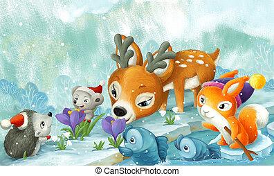 cartoon scene christmas animals near forest stream