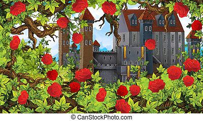 Cartoon scene of rose garden near castle in the background illustration for children