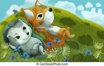 cartoon scene with animal friends fox and hedgehog on the meadow illustration