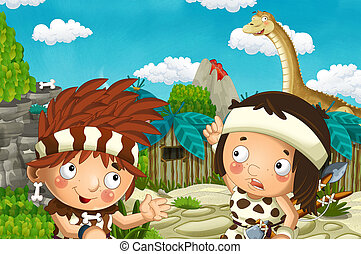 cartoon scene with caveman and boy in the village and diplodocus - illustration for children