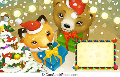 cartoon scene with frame with christmas animals holding presents