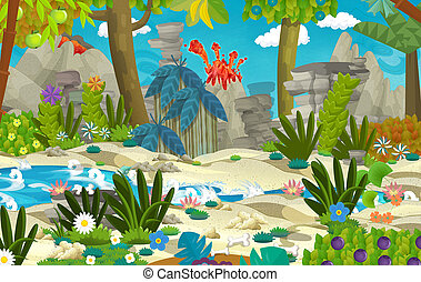 Cartoon scene with jungle near the river and volcano in the background - illustration for children