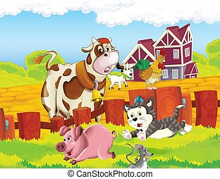 the life on the farm  happy cat and mouse  illustration