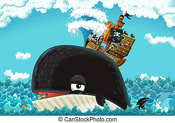 cartoon scene with pirate ship sailing through the seas with happy pirates meeting swimming whale - illustration for children