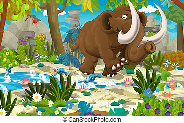 Cartoon scene with prehistoric mammoth near the river volcano in the background - illustration for children