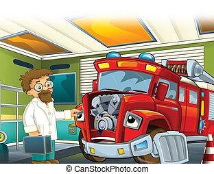 cartoon scene with red firetruck - illustration for children