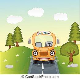 cartoon school bus on the road