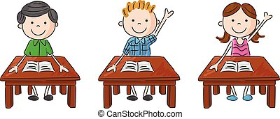 Cartoon school kids sitting on tabl