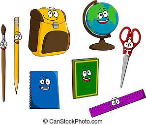 Cartoon school objects
