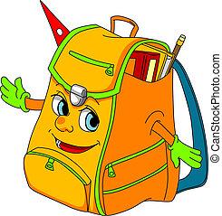 Cartoon school satchel for education concept. Vector...