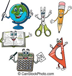 Cartoon school supplies and stationery characters