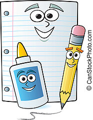 Cartoon School Supplies - Common school supplies drawn with...