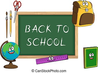 Cartoon school supplies with blackboard