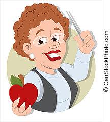 Cartoon School Teacher Character - Creative Abstract...
