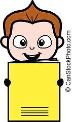 Cartoon Schoolboy holding a paper banner